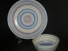Blue and Purple Banding Wheel Plate and Bowl
